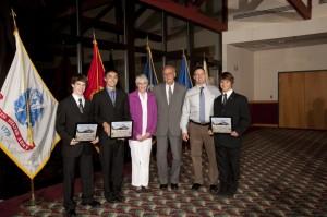 2012 Sergeant First Class Raymond Richard Buchan Memorial Scholarships recipients with Mr. and Mrs. Buchan and Mr. Philip Buchan.